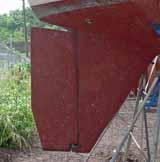 A full skeg rudder on a sailboat
