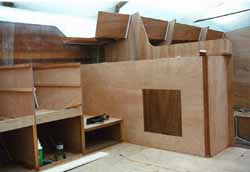 constructing the galley of a wooden boat