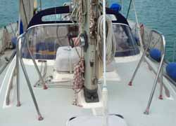 stainless steel granny bars on a sailboat