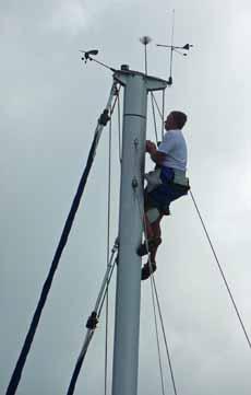 Climbing a sailboat mast in a bosun's chair