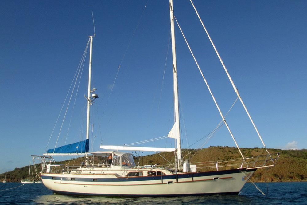An Irwin 52 cruising yacht at anchort