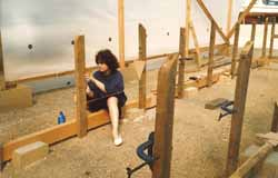 Building the stillage for a cedar strip wood-epoxy sailboat building project