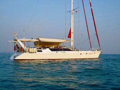 <i>Lorrigray II</i> on an idyllic island anchorage