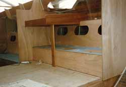 building the chart table and navigators berth on a wooden boat