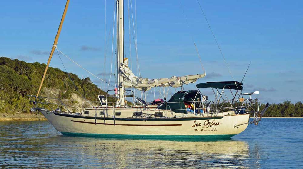 A Pacific Seacraft 37 heavy displacement sailboat (Displacement/Length Ratio = 334)
