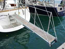 A passerelle on the stern of a cruising sailboat