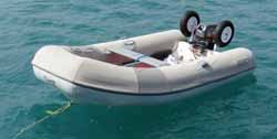 Rib fitted with transom-mounted wheels