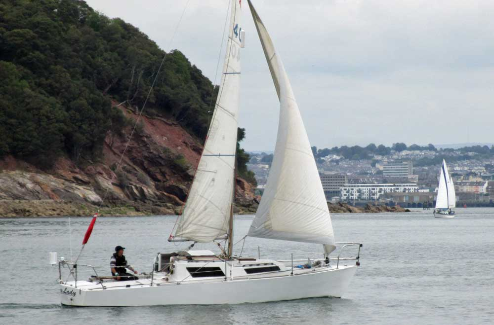 Sailboat 'Foxy Lady', an entrant in the 2015 Jester Challenge