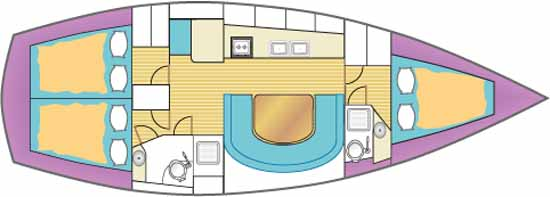 Sketch showing the interior accommodation layout in a cruising sailboat