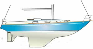 Sketch of a sailboat with an encapsulated fin keel and a rudder on a full skeg