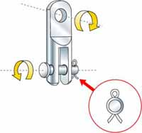 A toggle, which allows ensures the alignment of the rigging screw on sailboat shrouds and stays