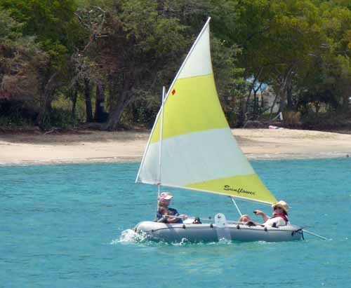 A sailing inflatable dinghy