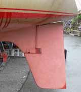 A half skeg rudder on a sailboat