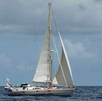 an aluminium cutter rigged sloop sailing in the Caribbean