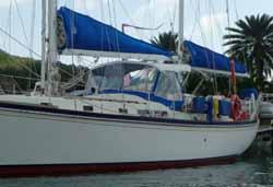 high profile style dodger (sprayhood) on sailboat