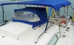 small pram-hood type dodger (sprayhood) for sailboat