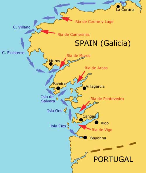 Map Of North Spain Coast.Passagemaking Through The Rias Bajas Of Galicia Northern Spain