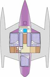 interior layout of cruising trimaran multihull