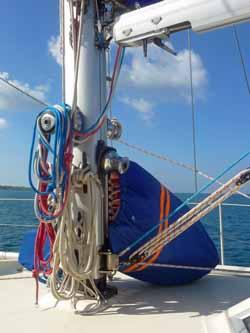 trysail in bag at foot of mas