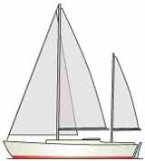 ketch rigged sailboat
