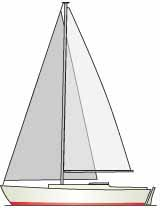 Sketch of a sloop rigged sailboat