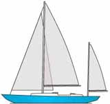 yawl rigged sailboat