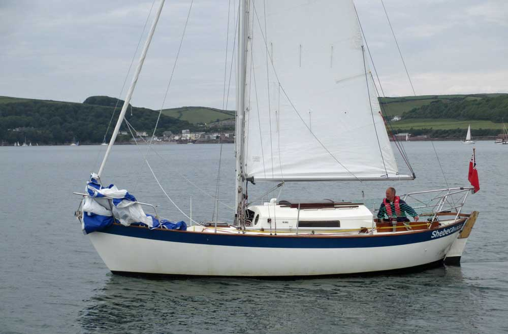 Sailboat 'Shebeca', an entrant in the 2015 Jester Challenge for small sailboats
