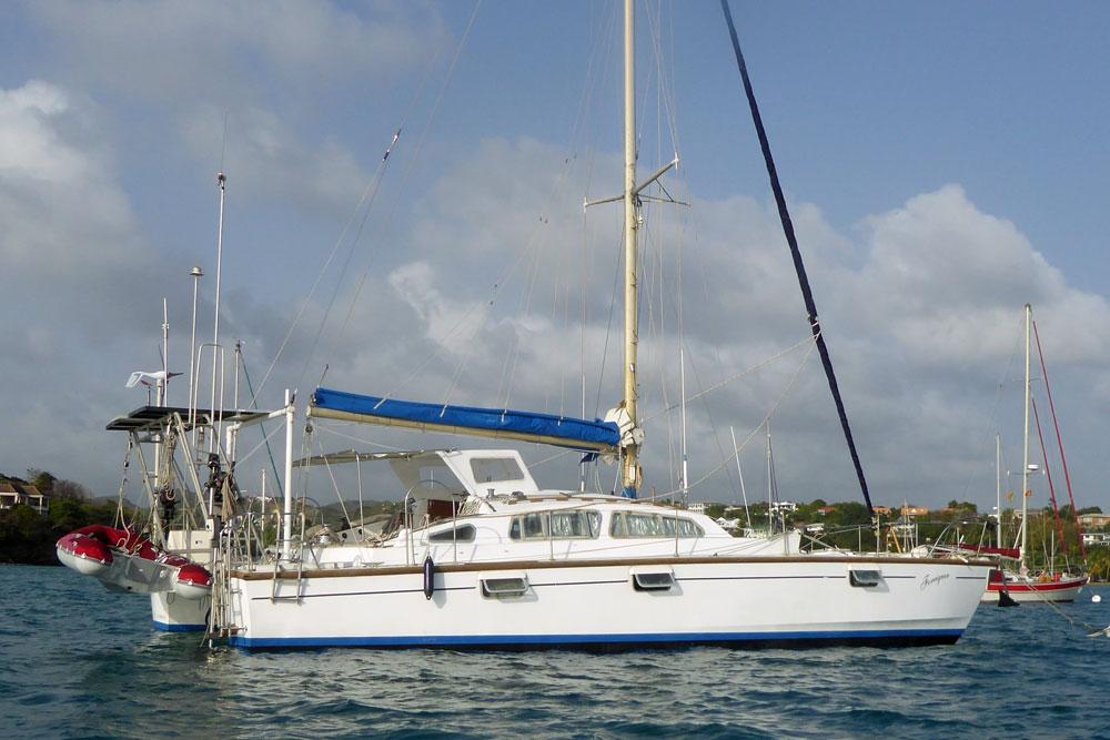 An Apache 41 catamaran anchored on Prickly Bay, Grenada, West Indies