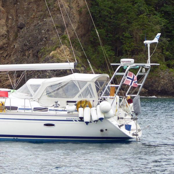 A bimini with side panels on a Bavaria sailboat