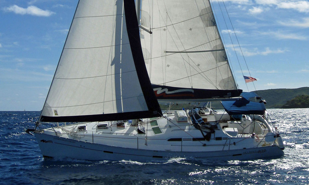 A Beneteau 393 sailboat