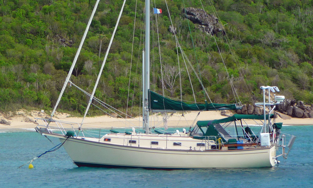 Sailboat on a mooring in the Caribbean