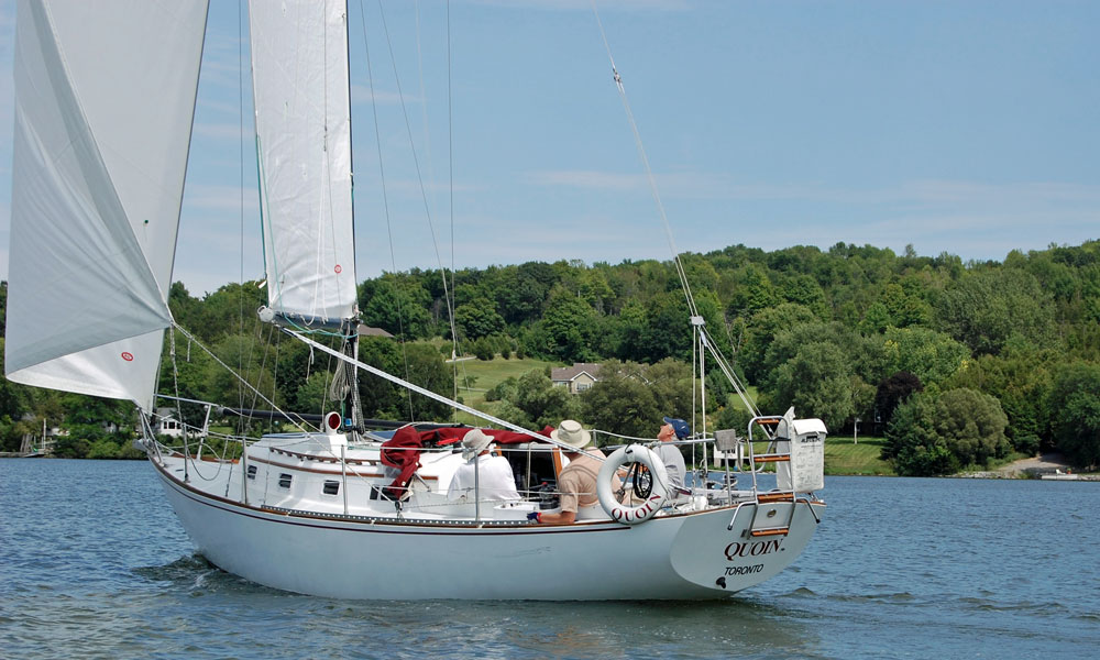 A Corvette 31 sloop rigged sailboat
