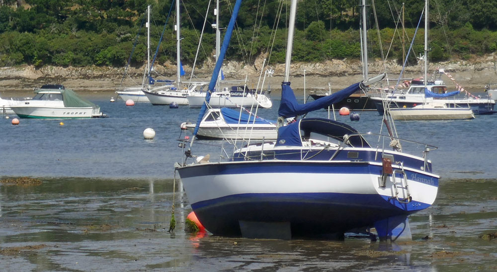 A drying mooring on Cornwall's Helford River.