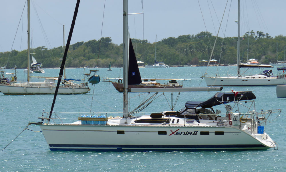 A Hunter 40.5 sailboat