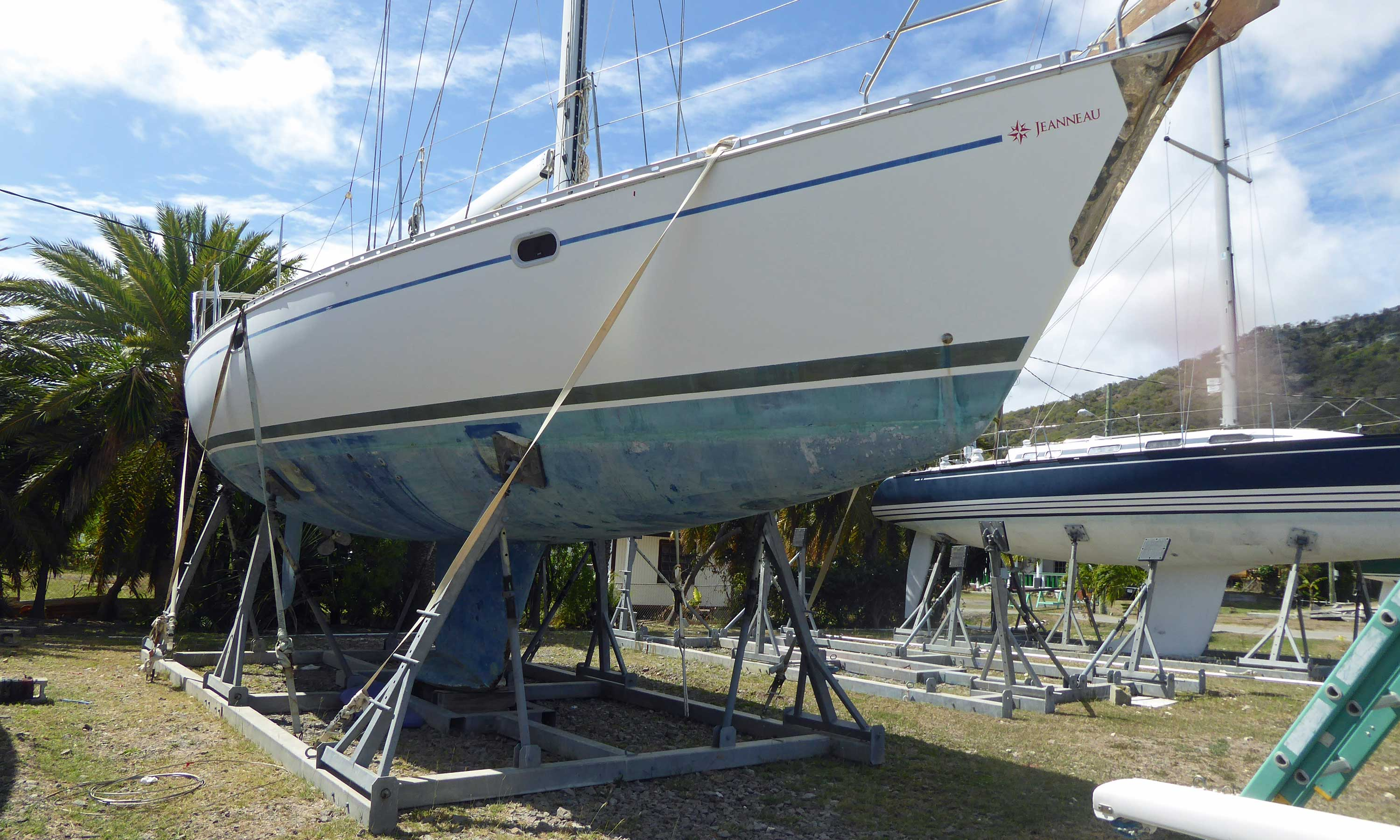 A boat stored in a cradle with tie downs for the Caribbean hurricane season