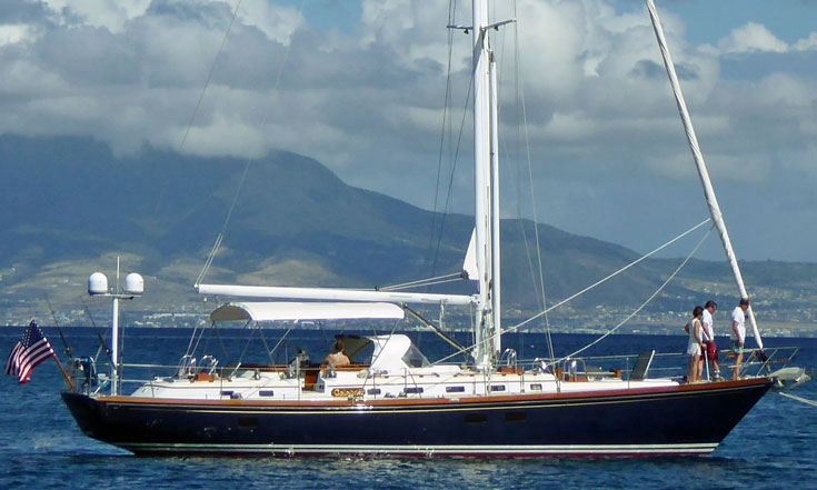 Little Harbor 54 at anchor off Nevis, West Indies