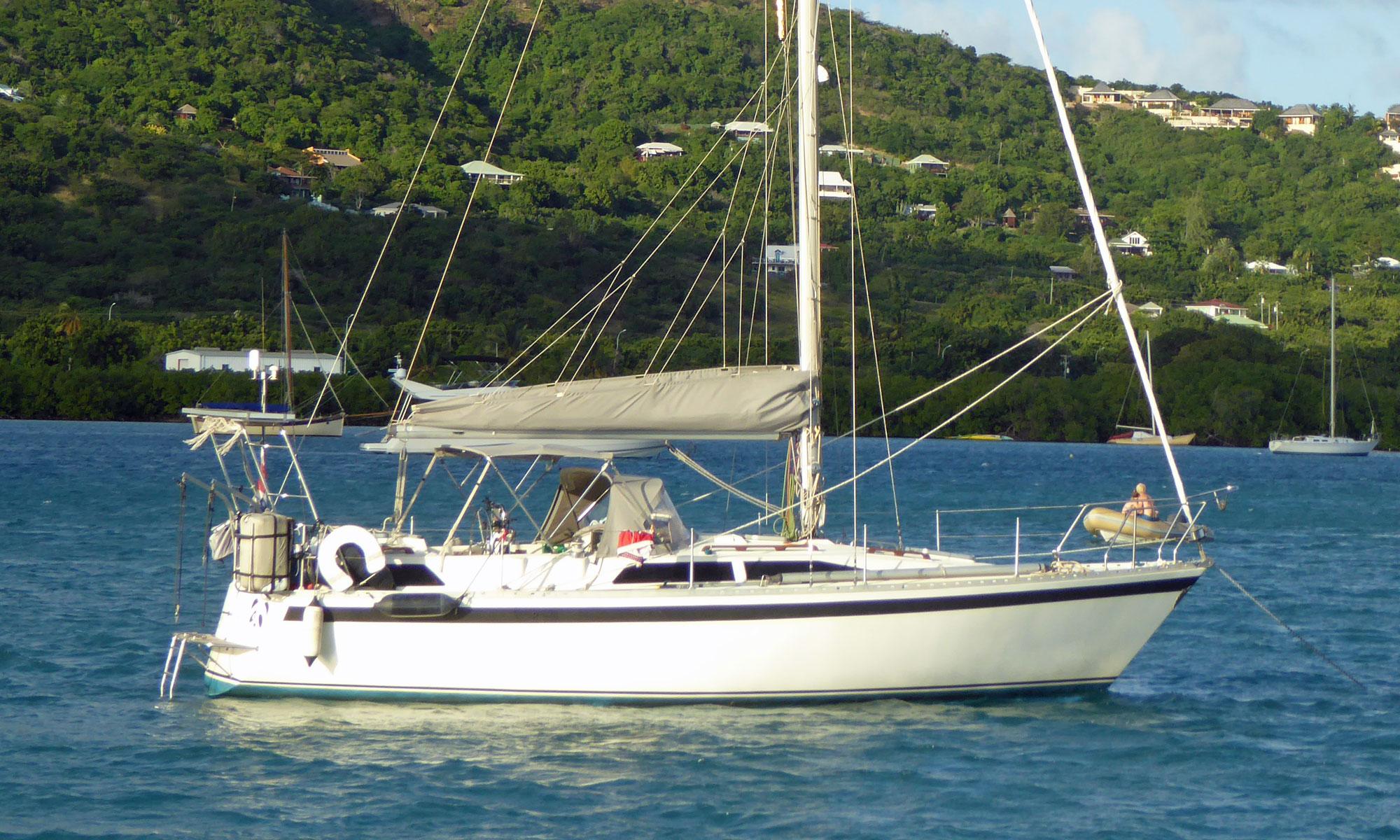 Moody 34 sailboat at anchor