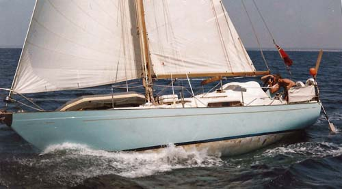 A Nicholson 32 ultra-heavy displacement sailboat. (Displacement/Length Ratio = 394)