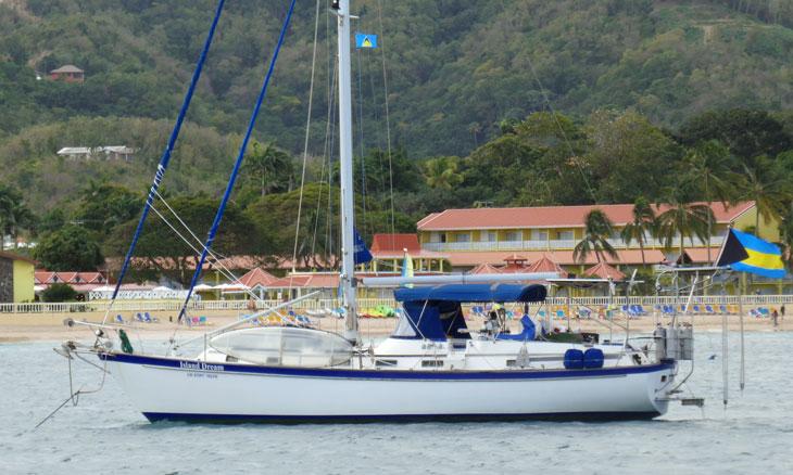 A Pearson 38 sailboat
