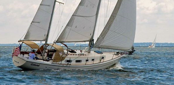 An Allied Pricess 36 sailboat under sail