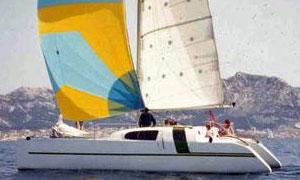 A profil 99 catamaran with cruising chute set