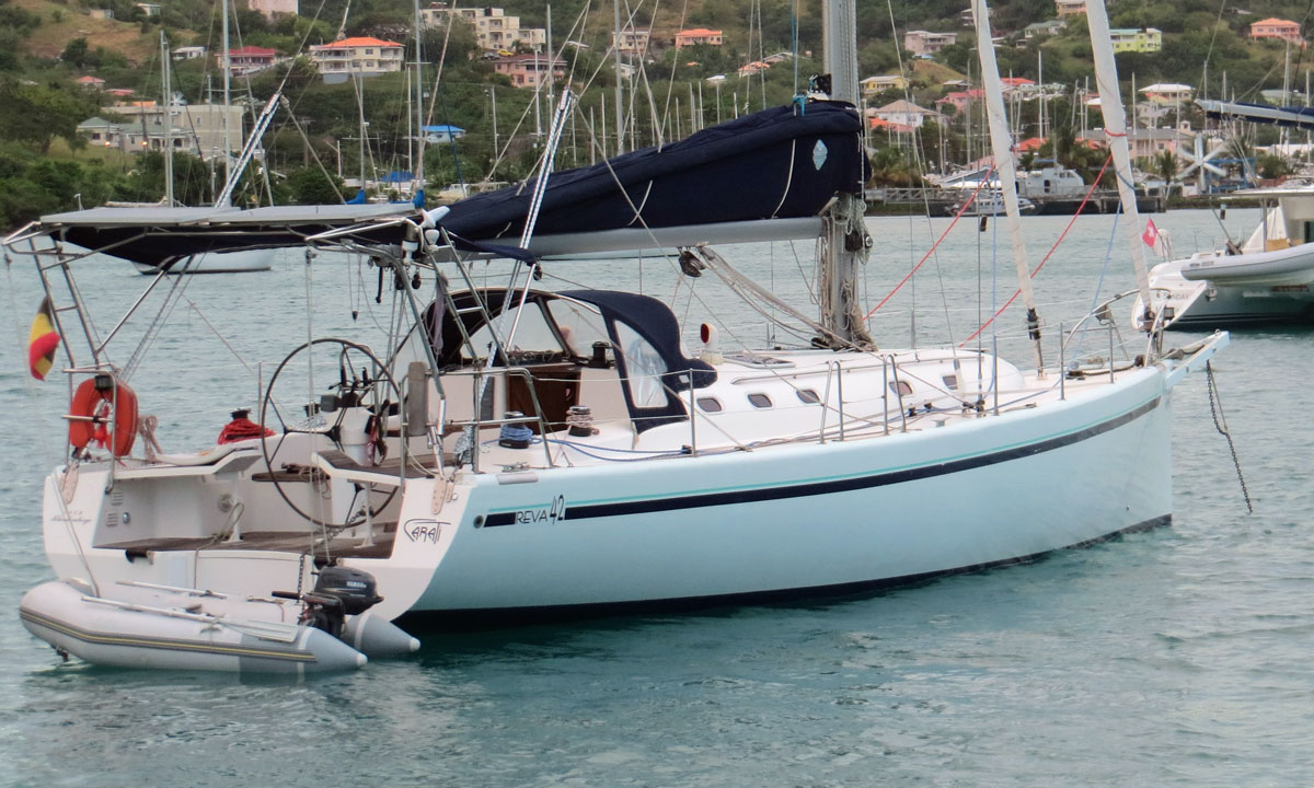 A Vega 42 cruising sailboat