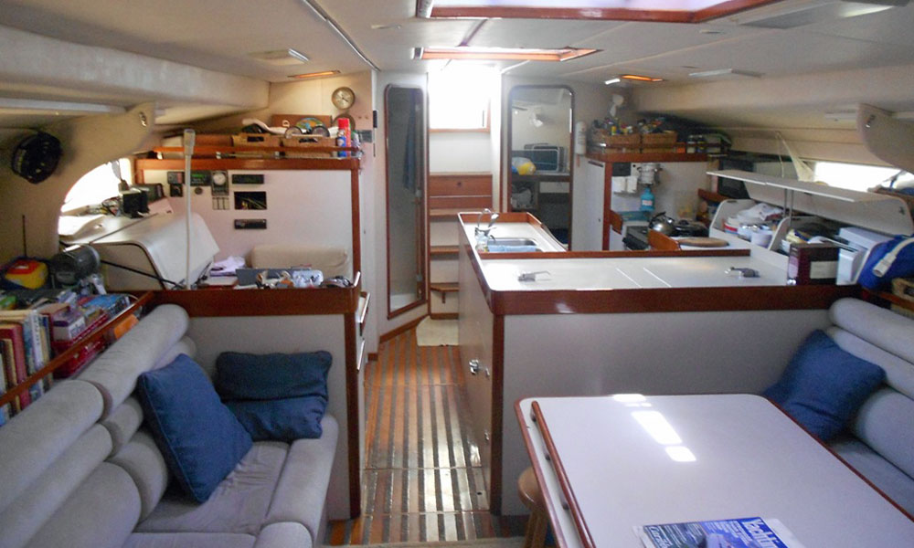 Interior of a Sundeer 56 Sailboat - the saloon