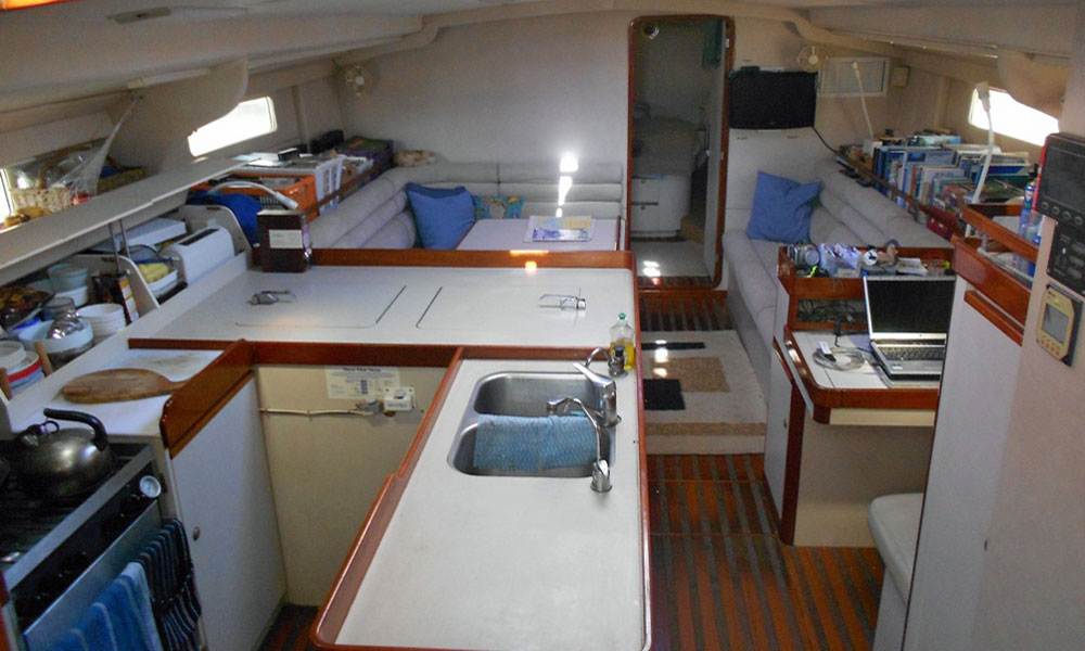 Interior of a Sundeer 56 Sailboat - the galley