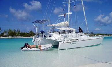 A Searunner 34 Custom Designed Cruising Trimaran at anchor