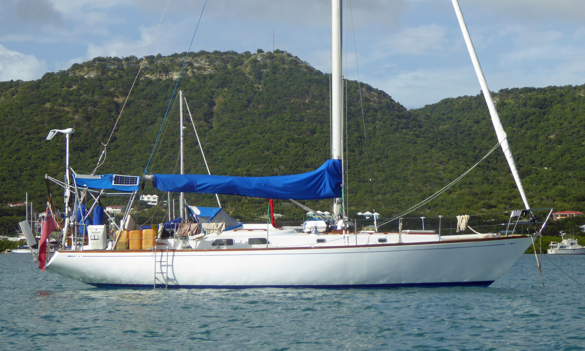 A Swan 40 sailboat at anchor