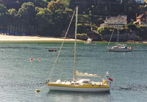 Alacazam at anchor on the Helford River