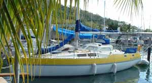 sailboat on the dock in Chagaramus, Trinidad