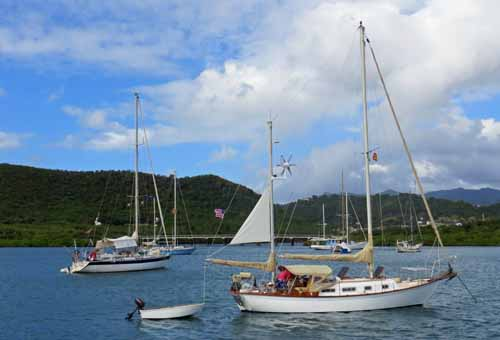 Allied Seawind cutter rigged ketch at Hog Island in Grenada