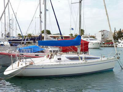 The owner is asking 20,000 for this Atlantic 31 sailboat for sale in Greece